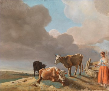 Tier Werke - sifting the past Landschaft with cows Schaf and Schäferess