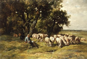 Tier Werke - a Schäfer and his flock charles emile jacques