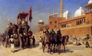 Great Mogul And His Court Returning From The Great Mosque At Delhi India Araber Edwin Lord Weeks Ölgemälde