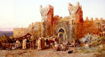 The Departure Of A Caravan From The Gate Of Shelah Morocco Araber Edwin Lord Weeks Ölgemälde