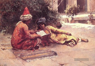 Two Araber Reading in a Courtyard Araber Edwin Lord Weeks Ölgemälde