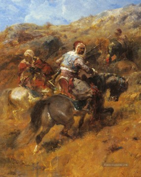 Arab Warriors On A Hillside Arabien Adolf Schreyer Ölgemälde