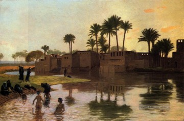 Bathers by the Edge of a River Arabien Jean Leon Gerome Ölgemälde