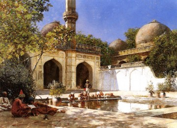 Figures in the Courtyard of a Mosque Araber Edwin Lord Weeks Ölgemälde