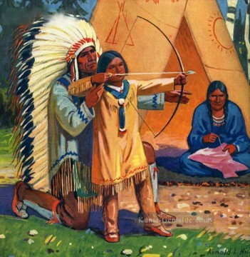 Jagd Werke - native american man teaching son to use bow and arrow Indian courser