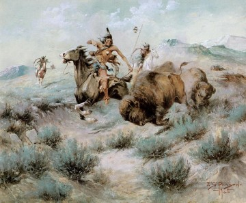 Jagd Werke - Edgar Samuel Paxson xx The Buffalo Hunt