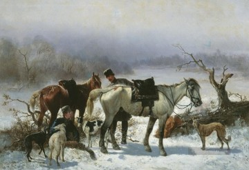Jagd Werke - hunt pferde and Hunde in winter