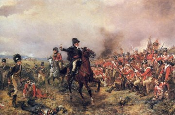 Wellington in Waterloo von Robert Alexander Hillingford Military War Ölgemälde