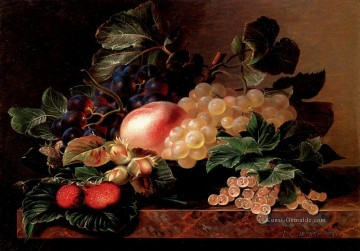Klassik Blumen Werke - Grapes Strawberries A Peach Hazelnuts And Berries Johan Laurentz Jensen Blume