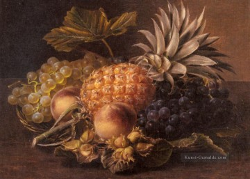 Klassik Blumen Werke - Grapes a Pineapple Peaches and Hazelnuts In A Basket Johan Laurentz Jensen Blume