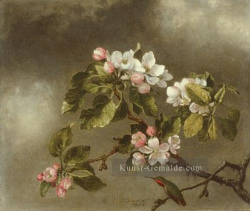 Klassik Blumen Werke - Hummingbird And Apple Blossoms Blumenmaler Martin Johnson Heade