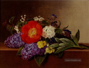 Klassik Blumen Werke - Lilacs Violets Pansies Hawthorn Cuttings And Peonies On A Marble Ledge Johan Laurentz Jensen Blume