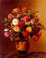 Still Life Of Dahlias In A Vase Johan Laurentz Jensen Blume