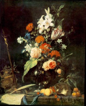 Klassik Blumen Werke - Still Life With Crucifix And Skull Jan Davidsz de Heem Blume