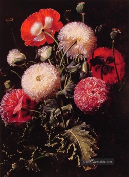 Klassik Blumen Werke - Still Life with Pink Red and White Poppies Johan Laurentz Jensen Blume