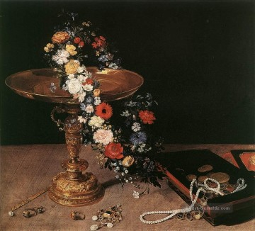 Klassik Blumen Werke - Still Life With Garland Of Blumen And Golden Tazza Flämisch Jan Brueghel the Elder Blume