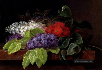 Klassik Blumen Werke - White And Purple Lilacs Camellia And Beech Leaves On A Marble Ledge Johan Laurentz Jensen Blume