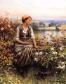 Daydreaming Landfrau Daniel Ridgway Knight Blumen