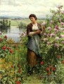 Julia among the Roses Landfrau Daniel Ridgway Knight Blumen