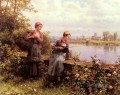 Maria And Madeleine Fishing Landfrau Daniel Ridgway Knight Blumen
