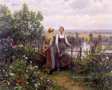 Klassik Blumen Werke - Maria and Madeleine on the Terrace Landfrau Daniel Ridgway Knight Blumen
