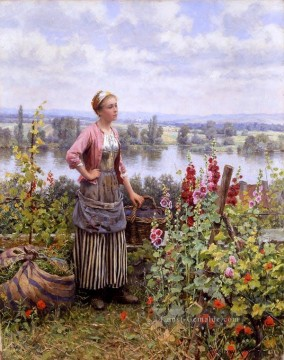 Klassik Blumen Werke - Maria on the Terrace with a Bundle of Grass Landfrau Daniel Ridgway Knight Blumen