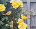 bird and yellow rose Klassische Blumen