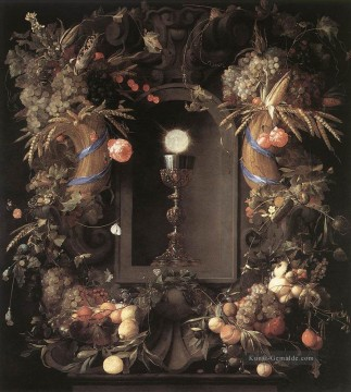 Klassik Blumen Werke - Eucharist In Fruit Wreath Stillleben Jan Davidsz de Heem Blume