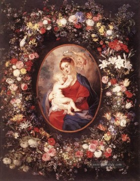 Klassik Blumen Werke - The Virgin and Child in a Garland of Flower Barock Peter Paul Rubens