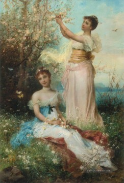 Klassik Blumen Werke - girl in Blumen and butterflies Hans Zatzka