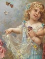 little girl and butterfly Hans Zatzka Klassische Blumen