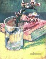 Blossoming Almond Branch in a Glass with a Book Vincent van Gogh impressionistische Blumen
