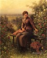 Seated Girl with Blumen countrywoman Daniel Ridgway Knight