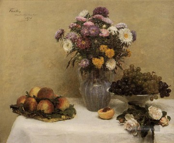 Blumen Werke - White Roses Chrysanthemums in a Vase Peaches and Grapes on a Table with a Whi Blumenmaler Henri Fantin Latour impressionistische Blumen