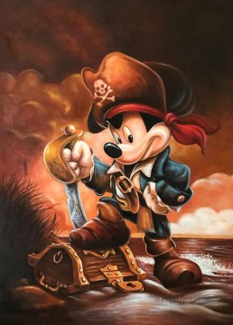 Pirate Mickey Karikatur Ölgemälde