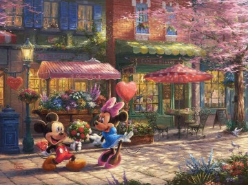 Mickey und Minnie Sweetheart Cafe Disney Ölgemälde