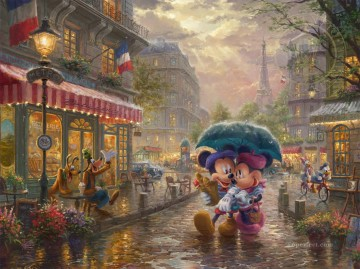 Mickey und Minnie in Paris Disney Ölgemälde