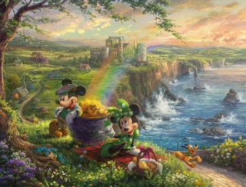 Mickey und Minnie in Irland Disney Ölgemälde