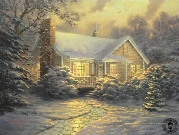 Christmas Cottage Thomas Kinkade kinder Ölgemälde