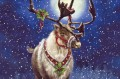 Christmas deer unter Mond Kinder