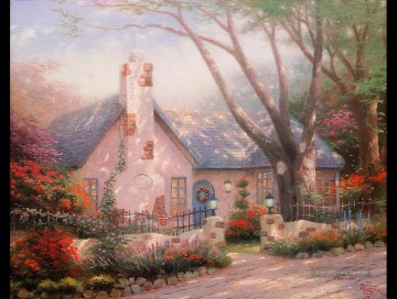 Morgens Glory Cottage Detail Thomas Kinkade Kinder Ölgemälde