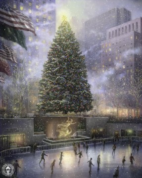 Weihnachten in New York Thomas Kinkade kinder Ölgemälde