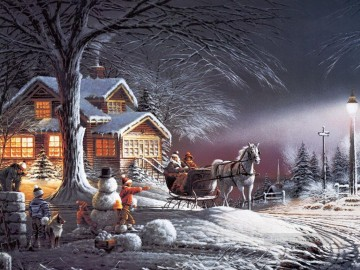 Terry Redlin Winter Wonderland Kinder Ölgemälde