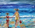 girls at thick paints Impressionismus Kinder strand