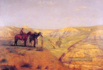realistischer realismus Ölbilder verkaufen - Cowboys in the Bad Lands Realismus Landschaft Thomas Eakins