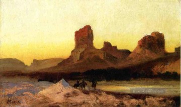Indianer und Cowboy Werke - Indians at the Green river Landschaft Rocky Berge Schule Thomas Moran