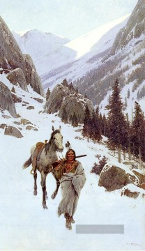 Indianer und Cowboy Werke - Through The Pass Winter west Indian Ureinwohner Amerikas Henry Farny