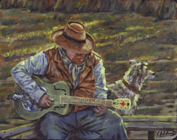 dogs playing poker Ölbilder verkaufen - cowboy playing guitar with a dog