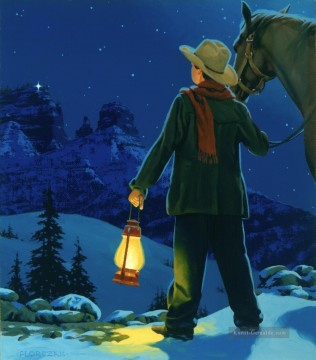 Indianer und Cowboy Werke - young cowboy with LIGHT IN THE HILLS