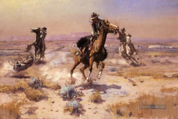 Cowboy Ölbilder - An Ropes Ende Cowboy Charles Marion Russell Indianer